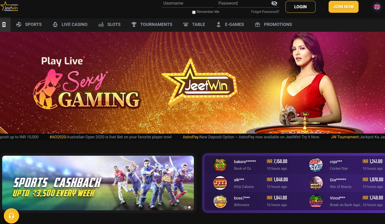 jeetwin casino lobby