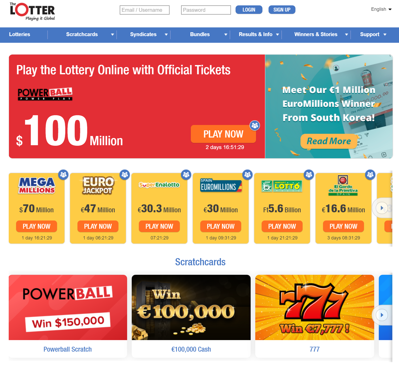 thelotter welcome casino offer